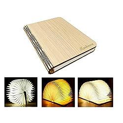 YAOJU Hölzerne faltende Buch-Lampe, Dekorative Lampe, Magnetisches LED-Licht, Tabelle/Schreibtisch-Lampe mit Akku 2000 mAh,Papier mit USB-Kabel,Ideal für Geschenk(21,5 x 17,5 x 2,5 cm)