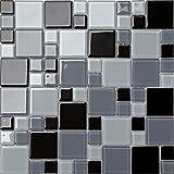 Glas Mosaik Fliesen Matte Steine in Zwei Größen Schwarz und Grau Farbtöne (MT0012)