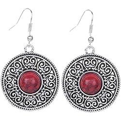 Yazilind vendimia de plata tibetana redondo rojo Resina relieve cuelgan los pendientes del gancho de la gota