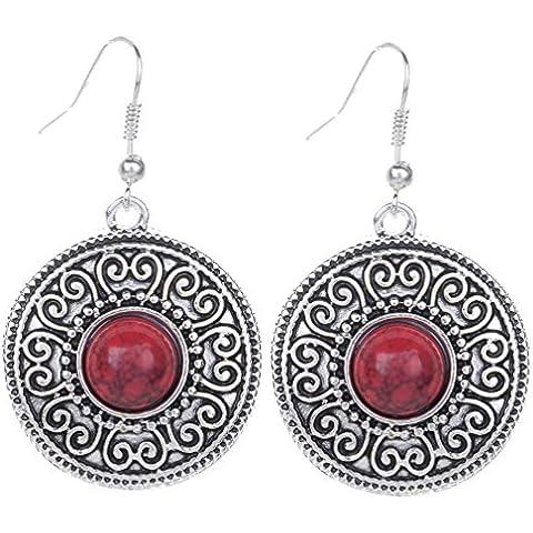 Yazilind vendimia de plata tibetana redondo rojo Resina relieve cuelgan los pendientes del gancho de la