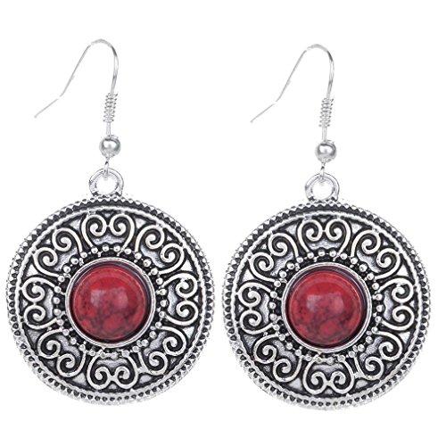 Yazilind vendimia plata tibetana redondo rojo Resina