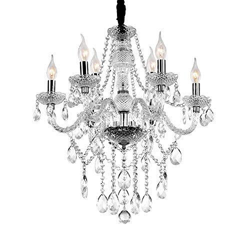 Fscm Kristall Kronleuchter Lüster Transparent Hängelampe Leuchter Lampe Pendelleuchte Deckenlampe aus K9 Kristall, Acryl und E14 LED Lampenfassung 30cm Höhenverstellbar Kette (6 Flammig - φ58 x 52 cm)