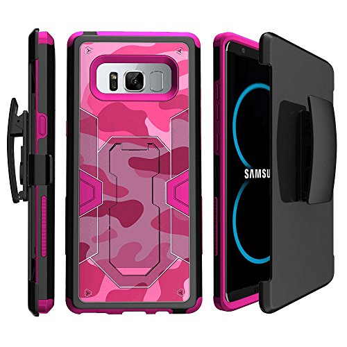 Pink Samsung Galaxy Note 8 Clip Fall [Pink Max Defense Schutzhülle für Note 8], schlagfestem Metallständer & Holster Fall für Note 8 2017 | Pink Galaxy Note 8 Gürtelclip Combo Fall, Pink/Camouflage (Samsung Cell Note Cricket Phones)