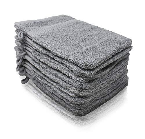 Wash Monkey Luxus Waschlappen-Set, 10 tlg. Geschenkset - Frottier Waschhandschuhe 16x21 cm - Frottee Baumwolle| Premium Qualität | hellgrau