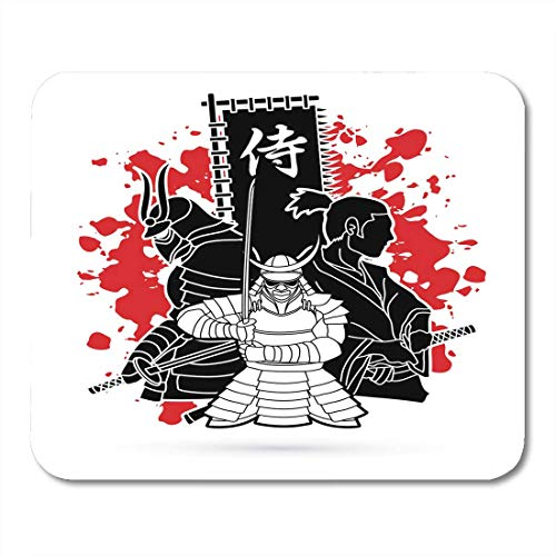 Mouse Pads Black Armor 3 Samurai Composition with Flag Japanese Mean Designed on Splatter Blood Graphic Army Mouse Pad for Notebooks,Desktop Computers Mouse Mats, Office Supplies (Blood Flag)