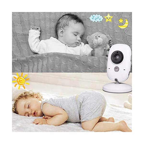 "Baby Monitor, Video Baby Monitor Wireless Baby Camera with Night Vision, Digital 2.4Ghz Baby Monitor with Two-Way Audio, Lullabies Temperature Searong 【3.2 inch LCD Display + 2.4GHz Wireless Transmission】Monitor with a large display screen to your baby's sleep with the most advanced High Quality Color LCD Display with Enhanced 2.4GHz FHSS Technology. Our premium video baby monitor provides high definition and stable streaming, secure interference-free connection and crystal clear digital vision and sound. 【VOX Auto Wake-up &Two Way Talk】VOX mode automatically switches the display to ""sleep mode"" to save battery power. The unit reactivates automatically as soon as it makes a noise in the room, especially when the baby is crying, the display will change from dark to light. Two way Talk, Two way talk audio function allows for a talk back communication so that care your baby with the sound of you. 【Long Connection Distance】Our baby monitor features long range between you and your baby's room.with the range up to 260 meters in open space,up to 50 meters indoor room. 3"