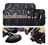 #7: Imported Cosmetic Makeup Brush Set - 24 Pieces with Black Leather Case