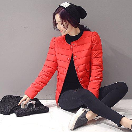 Bigood Femme Fashion Doudoune Manches Longue Veste Manteau Parka Blouson Slim Pour Hiver Rouge