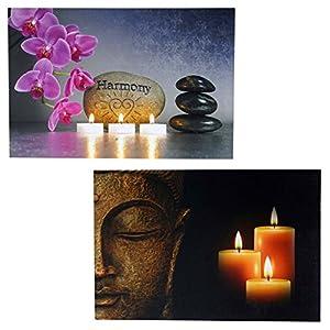 Mendler 2X LED-Bild Leinwandbild Leuchtbild Wandbild 60x40cm, Timer ~ Buddha + flackernd