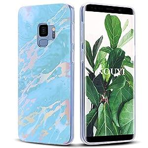 KOUYI Hülle für Galaxy S9,Marmor Weich Silikon Handyhülle TPU Bumper Handytasche Flexible Schutzhülle Protective Gummi Dünn Abdeckung für Samsung Galaxy S9 (Blau)