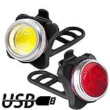 Luci per Bicicletta, Luci Bici 650mAh USB Ricaricabile Impermeabile LED Faro e Fanale Posteriore,4 Modalità, Batterie Inclusive,Usare Come Caricabatterie Portatile
