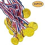 VSTON Medallas de plástico para niños Ganador de oro Premios Premios para niños Partido Competencia de juegos Olímpico Día de los niños de oro, 24 piezas