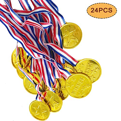 VSTON Plastic Kids Medaillen Gold Winner Awards Preise für Kinder Party Game Competition Olympischer Kindersporttag Golden, 24 ()