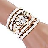 Vi.yo Armband Uhr Kunstleder Multilayer Weave Quarz Armband Armbanduhr (Wei?)