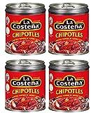 La Costena Chipotle Peppers en salsa de Adobo 199g latas - Paquete de 4