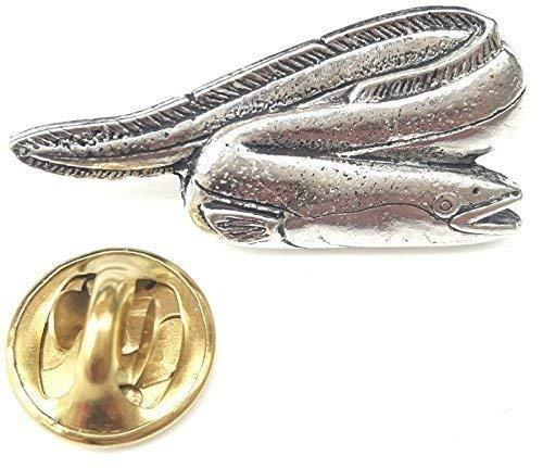 River Aal Fisch Handgefertigt aus Englischen Zinn in Großbritannien Revers-anstecknadel + 59mm Knopf-abzeichen + Geschenktüte