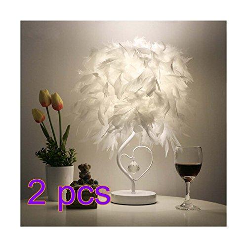 OULII Chevet, liseuse salle salon cœur forme plume Table cristal lampe avec décoration à la maison de l'Union européenne-fiche, Pack de 2