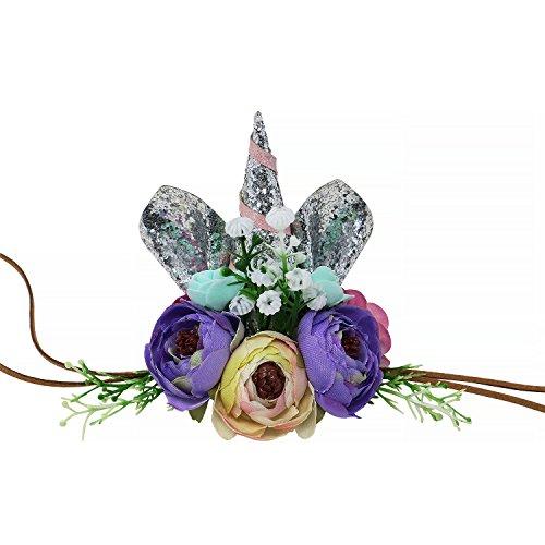 and Einhorn Geburtstag Party Blume Hut Krone mit Glitter Ohren für Kinder und Erwachsene (Silber) (Themen Für Erwachsene Geburtstagsfeiern)