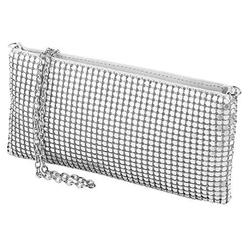 Chanel Damen Accessoires (cecilia&bens mini Clutch mit Pailletten | 20er Jahre Accessoires Silber | kleine Damen Umhängetasche)