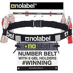 No Label Ceinture pour Numero avec 6 Porte-Gels pour Courir dans Ironman Un Triathlon Un Semi-Marathon & des Marathons | Ceinture Porte-dossard pour Adultes (Noir)