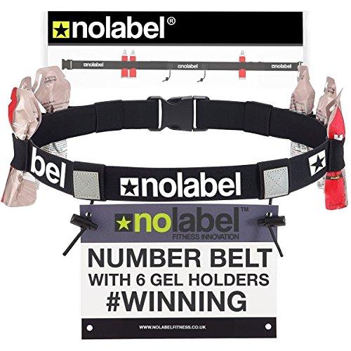 Laufgürtel Gürtelhalter Marathongürtel mit 6 Energy Gel Loops Startnummernband für den Iron Man Ironman Triathlon Halbmarathon & Marathonrennen | Radfahr-Gürtel für Kinder & Erwachsene (Schwarz) -
