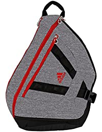 adidas Capital Sling Mochila - 104637, One Size, Heather Granite/Scarlet/Black