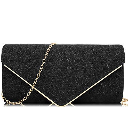 Milisente Damen Clutches Glitzer Pailletten Abendtasche Elegant Umschlag Schultertasche, Schwarz (schwarz), Einheitsgröße -