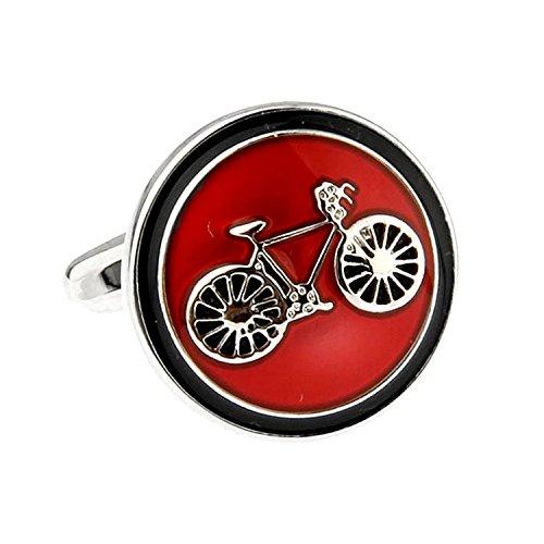 Manschettenknöpfe Fahrrad Fahrrad Runde Manschettenknöpfe (rot)