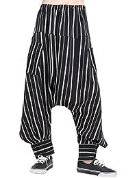 ELLAZHU Women Fashion Elastic Waist Strips Drop Crotch Loose Baggy Casual Pants GY1542 A