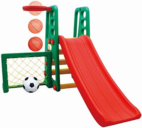 Salut Maman - Spielcenter mit Rutsche, Basketballkorb und Tor, 137x57x103cm, Grün