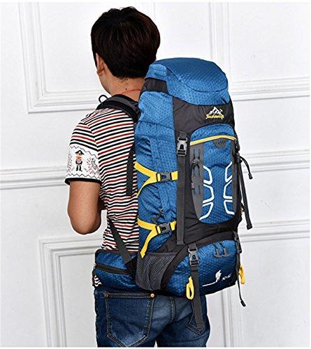 60L Camping Rucksack, Outdoor Sport Großes Capacity Light Portable Bergsteigen Wandern Reisen Reiten Multifunktions Schultern Tasche 60x33x20cm Blue