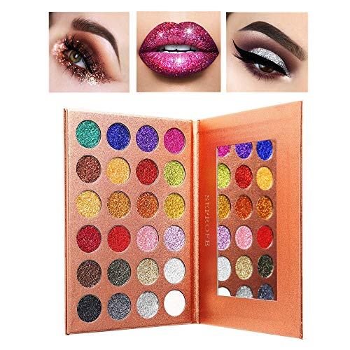 SEPROFE Pressed Glitter Eyeshadow Palette 24 Colors Pigmented Mineral Foiled Long-Lating Shimmer Powder Eye Shadow Palette Waterproof Makeup Kits