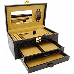 2-drawer leather jewelry box engraved coconut Size: U Color: BROWN
