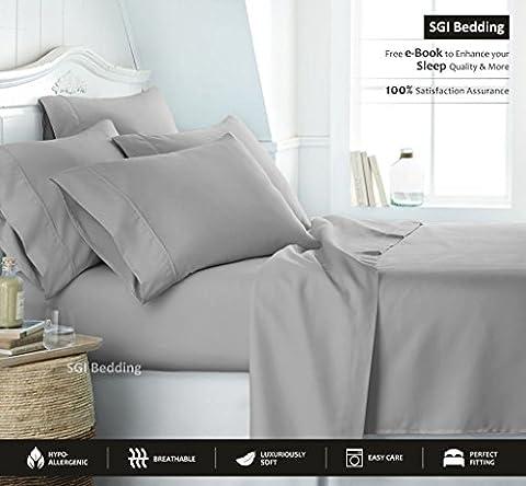 600TC 100% ägyptische Baumwolle Bettwäsche 4PCS-Bettlaken-Set Deep Pocket alle Größe & Farbe massivem 25cm tief Pocket by SGI Bettwäsche Europa Kollektion, silbergrau, East. King