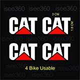 #3: isee360 Cat Logo Water Resistance Die Cut (No Background) Reflective Sticker for Handle Bar Disc Box, White & Red ,Bike Chaise, Visor, Mudguard, Car -Lap- All Gadget- Sportive Reflective Decal-Pack of 4
