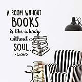 sticker mural Citations murales sur les livres Une pièce sans livres est comme un corps sans âme Sticker mural pour salle d'étude, librairie