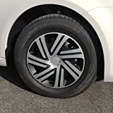(Größe & Design wählbar) 15 Zoll Radkappen Cyrkon Schwarz-Silber passend für fast alle Fahrzeugtypen (universal)
