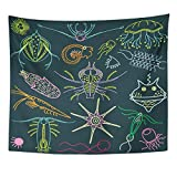 Tapestry Blue Plankton Marine Microorganisms Sea Life Abstract Ameba Home Decor Wall Hanging for Living Room Bedroom Dorm 50x60 inches