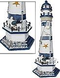 Deko-Leuchtturm Holz Fischernetz Seestern Seevögel Stein Segeln Maritime H:57cm Nr:02