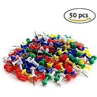 NiceButy - Lote de 50chinchetas, plástico y metal, de pequeño tamaño, diseño decorativo para panel de anuncios, manualidades, fabricación de tarjetas o scrapbooking, multicolor
