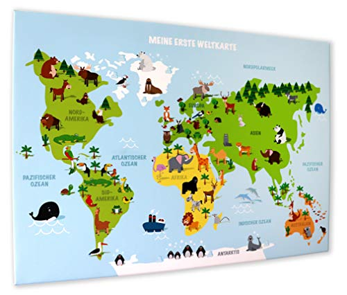 Leinwandbild KINDERWELTKARTE 70 cm breit x 50 cm hoch, Illustrierte Weltkarte für Kinder, deutsche Beschriftung, Kinder-Poster, Geschenk, Dekoration fürs Kinderzimmer (Leinwandbild 70 cm x 50 cm)