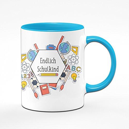 Tasse zur Einschulung - Endlich Schulkind - Geschenke zur Einschulung für Mädchen & Junge - Zum Schulanfang für die Schultüte - Farbe wählbar (Hellblau)