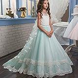 Melodycp Prinzessin der Brautjungferin für Das Hochzeitstag Honor Flauschiges Tüll Spitzenkleid Party Ballkleid Mädchen Blumen Mädchen Mädchen Hochzeitskleid Tutu 12-13T