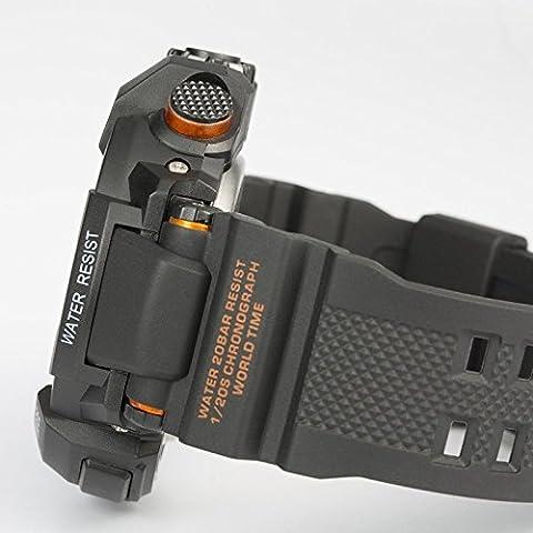Fashion Sport multifunción Digital LED de reloj para hombre de silicona impermeables Naranja naranja