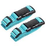 add-a-bag bagagli cinghia Aveson confezione da 2, attacco per bagagli valigia cintura regolabile accessori da viaggio–collega le tre Luggages insieme, blu