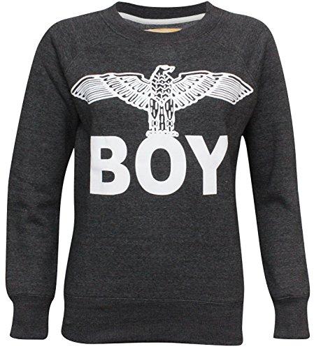 nuovo-donne-boy-london-aquila-stampa-t-shirt-uomo-felpa-top-taglia-uk-8-14-charcoal-sweatshirt-s-m-4