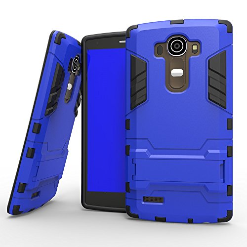 LG G4 Case, 2 In 1 Neue Rüstung Tough Style Hybrid Dual Layer Rüstung Defender PC Hartschalen mit Ständer Shockproof Fall Für LG G4 ( Color : Blue Black , Size : LG G4 ) Blue