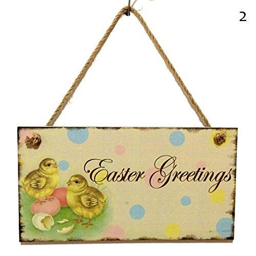 rhasen hängen, um Musterauferstehung von Jesus zu Hause zu erinnern Kaninchen das hölzerne Abstellgleis Kaninchen (bunt2) (Osterhase Zu Hause Dekorationen)
