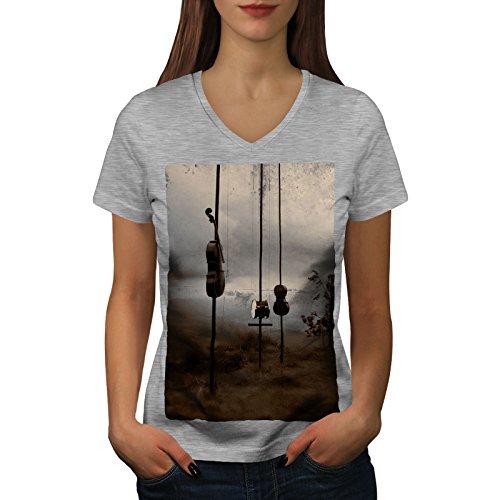 wellcoda Geige Trommel Natur Musik Frau M V-Ausschnitt T-Shirt