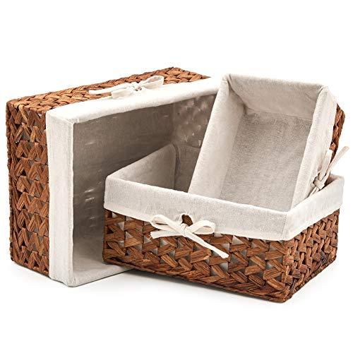 EZOWare 3er-Set rechteckige natürliche Wasserhyazinthe Organizer Aufbewahrungskörbe Behälter mit Liner Ideal für Küche, Bad, Schlafzimmer, Home Deko - Braun